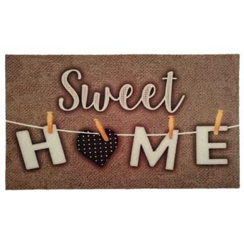 SELSEY Wycieraczka do butów Nooris z napisem Sweet Home 40x60 cm brązowa