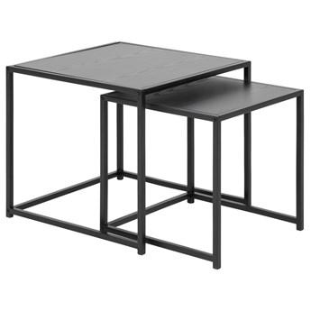 SELSEY Zestaw stolików kawowych Magerta w stylu industrialnym czarny