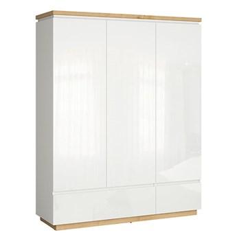 Pojemna 3-drzwiowa szafa z szufladami do sypialni Erla 163x206x53