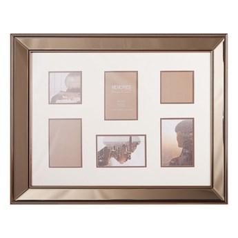Beliani Multiramka miedziana szkło plastik 65 x 52 cm lustrzana na zdjęcia 6 fotografii 10x10 cm 15x10 cm kolaż wisząca