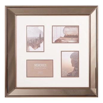 Beliani Multiramka miedziana szkło plastic 52 x 52 cm lustrzana na zdjęcia 4 fotografie 15x10 cm kolaż wisząca