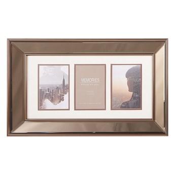 Beliani Multiramka miedziana szkło plastik 51 x 32 cm lustrzana na zdjęcia 3 fotografii 15x10 cm kolaż wisząca