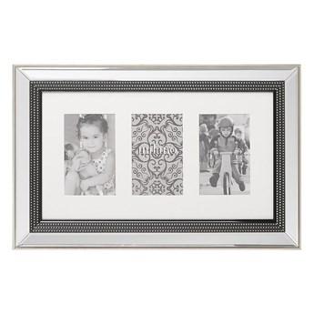 Beliani Multiramka srebrna szkło plastik 51 x 32 cm lustrzana na zdjęcia 3 fotografie 14x9 cm kolaż wisząca