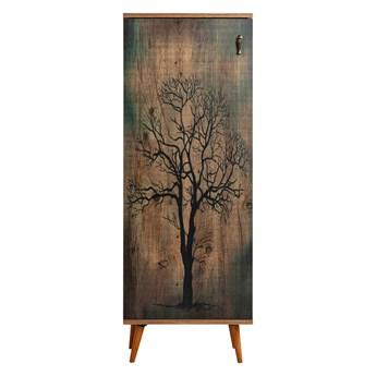 SELSEY Regał zamykany Jiesto rustykalny z motywem drzewa
