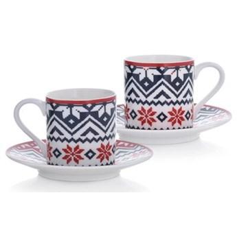 Filiżanki do espresso świąteczne DUKA NORDIC 2 szt 90 ml porcelanowe