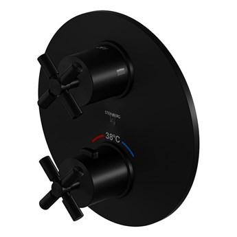 Bateria prysznicowa Steinberg Seria 250 4133 3, element zewnętrzny, termostat, Czarny matowy