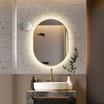 AMBIENT SLIM GOLD owalne lustro podświetlane LED