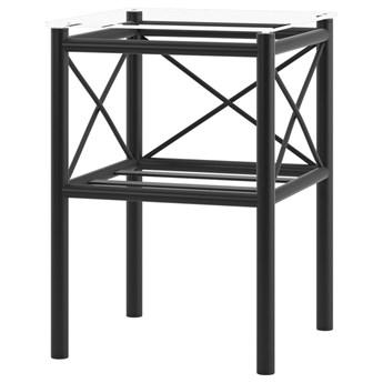 SELSEY Stolik nocny Waine metalowy ze szklanym blatem i zdobieniami w kształcie X 36x36 cm