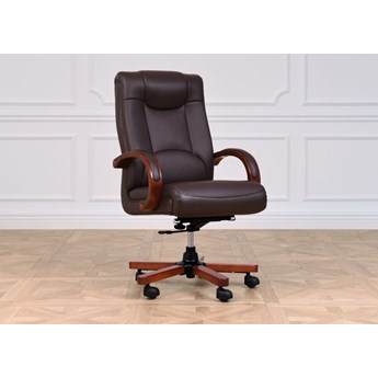Fotel gabinetowy Lider, skóra naturalna, brąz