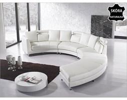 Pólokragla sofa skórzana zlamana biel - 8 miejsc siedzacych ROTUNDE