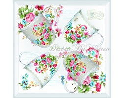 Zestaw 4 kubków Les Fleurs Gris / Blanc