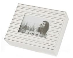 Dekoria Szkatułka MARINE z foto 24 x 19 x 7,5 cm białe drewno
