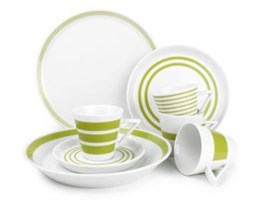 Dekoria Zestaw obiadowy 20cz. S&P Stripes zielony