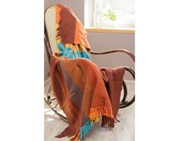 Dekoria Koc hiszpański Manta krata brązowo-pomarańczowo-niebieska 140x180 cm