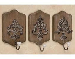 Dekoria Wieszak ścienny z ornamentem drewno antyczny brąz