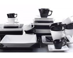 Serwis obiadowo-kawowy OXFORD SORTIDO KWADRATOWY BIAŁO-CZARNY na 6 osób (42 el.)