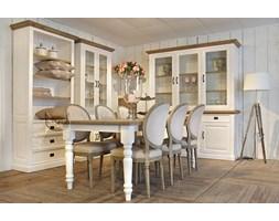 Stół Sevilla biały z dębowym blatem duży do salonu