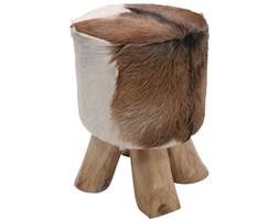 Kare Design Flint Stone Stołek Skórzany Okrągły - 74562