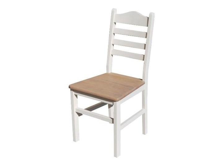 Krzesło Retro Scadinavia Białe Z Dębowym Siedziskiem