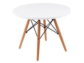 Stolik DTW średnica blatu 60 cm biały, drewniane nogi kod: DK-18330