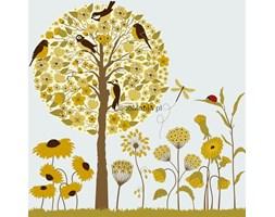 Fototapeta F3435 - Drzewo z ptakami i kwiatkami