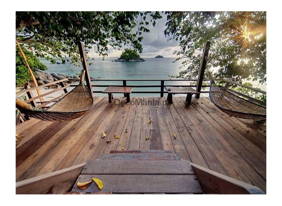 fototapeta f3745 taras z hamakami i widokiem na morze 2 fototapety zdj cia pomys y. Black Bedroom Furniture Sets. Home Design Ideas