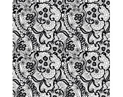 Fototapeta F3421 - Kwiaty z czarnej koronki na białym tle