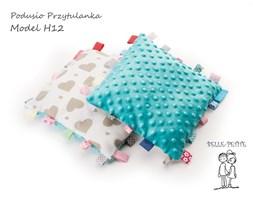 Podusio-Przytulanka bawełna-minky 25x25 cm., serca, turkus