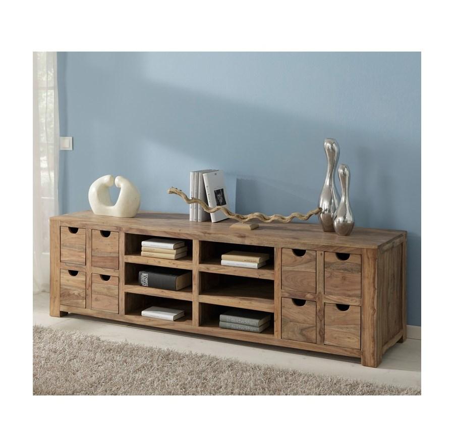 wolf m bel yoga drewniana szafka rtv z 8 szufladami i 4 p kami drewno palisander natur 200x55cm. Black Bedroom Furniture Sets. Home Design Ideas