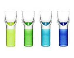 4 kieliszki do wódki, likierów, niebiesko-zielone