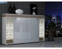 ART 160/111/48 cm VIP CONTINENTAL komoda dąb sonoma biały mat / biały wysoki połysk
