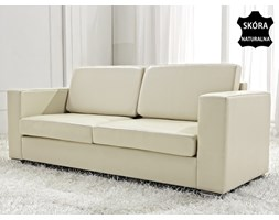 Skórzana sofa trzyosobowa bezowa - kanapa - HELSINKI