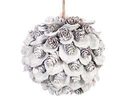 Dekoracyjna biała kula z szyszkami 10 cm