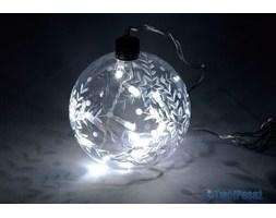 Bombka wypełniona światełkami lampki na baterie, biały led