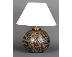 Mosiężna lampa stołowa w zielono-złotym kolorze