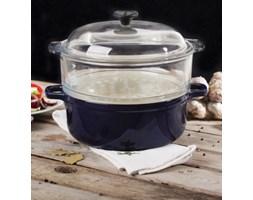Garnek żeliwny do gotowania na parze KOBALTOWY GRANAT -- niebieski
