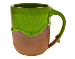 Ręcznie robiony prosty kubek mini z zielonym szkliwem - rękodzieło