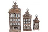 Zestaw trzech lampionów drewnianych
