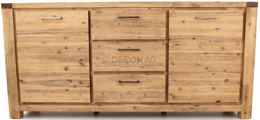 wolf m bel coast komoda drewniana 2 drzwiowa z 3 szufladami akacja szczotkowana jasna 9605s. Black Bedroom Furniture Sets. Home Design Ideas