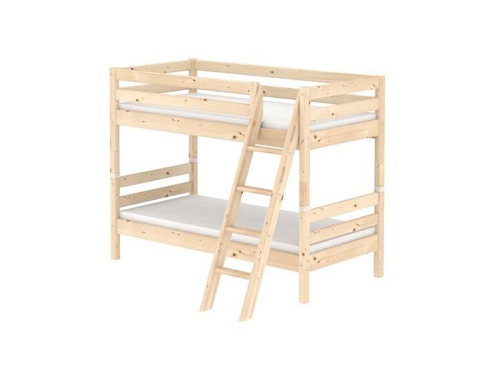 łóżko Classic Piętrowe Podwójne Z Drabinką Pochyłą Naturalne Pełnowym