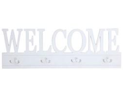 Drewniany biały wieszak Welcome