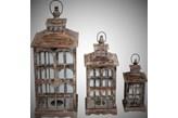 Drewniany lampion na świece - zestaw 3szt
