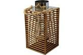 Lampion drewniany z elementami szkła i stali chromowanej 35x18x18
