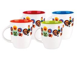 Folkstar - komplet czterech kubków z kolorowymi wnętrzami folk design - łowickie kwiaty i koguciki