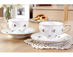 Komplet 2 filiżanek porcelanowych DUO ENGLISH COLLECTION -- biały złoty