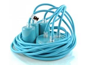 Kolorowe kable w oplocie turkusowym: 3 x 2,5m