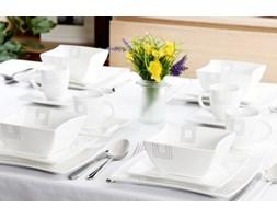 Serwis obiadowo-kawowy DUO KWADRATY na 6 osób (30 el.) -- biały