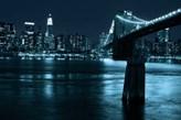 Manhattan, Brooklyn Bridge nocą - fototapeta