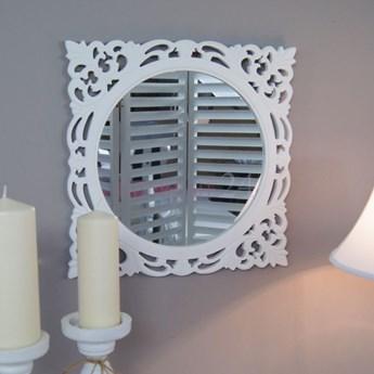 Lustro z serii ROMANTIC, drewniana, ażurowa rama, biel.