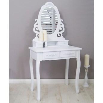Stylowa toaletka, seria Meridian, gięte nogi, zdobienia, motyw kwiatowy, matowa biel.